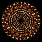 Hohloma traditionell rund röd gul modell på en svart vektor Fotografering för Bildbyråer