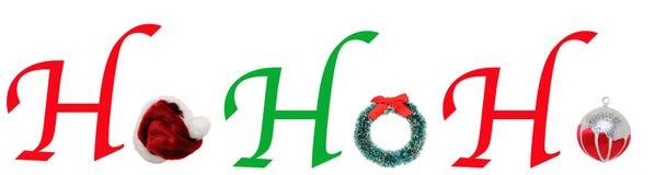 HoHoHo with Christmas Wreath, Hat, ornament Royalty Free Stock Image