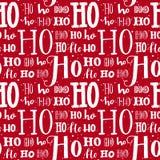 Hohoho modell, Santa Claus skratt Sömlös bakgrund för juldesign Röd textur för vektor med vitt handskrivet Arkivfoto