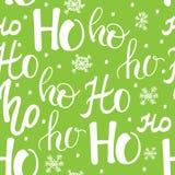 Hohoho modell, Santa Claus skratt Sömlös textur för juldesign Grön bakgrund för vektor med handskrivna ord Arkivbild