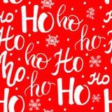 Hohoho modell, Santa Claus skratt Sömlös textur för juldesign Röd bakgrund för vektor med handskrivna ord Arkivfoton