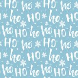 Hohoho pattern, Santa Claus laugh. Seamless background for Christmas design. Vector blue texture with handwritten words vector illustration
