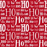 Hohoho pattern, Santa Claus laugh. Seamless background for Christmas design. Vector red texture with white handwritten Stock Photo