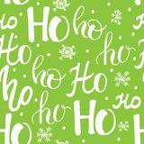 Hohoho pattern, Santa Claus laugh. Seamless texture for Christmas design. Vector green background with handwritten words Stock Photography