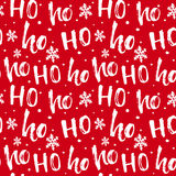 Hohoho pattern, Santa Claus laugh. Seamless texture for Christmas design. Vector red background with handwritten words ho Royalty Free Stock Photos