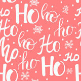 Hohoho pattern, Santa Claus laugh. Seamless texture for Christmas design. Vector red background with handwritten words ho Stock Photos