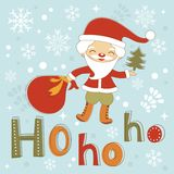 Hohoho Santa cute Christmas card Stock Image