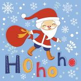 Hohoho Santa cute Christmas card Royalty Free Stock Images