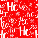 Hohohopatroon, Santa Claus-lach Naadloze textuur voor Kerstmisontwerp Vector rode achtergrond met met de hand geschreven woorden Stock Foto's