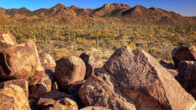 Hohokam Petroglyphs at Signal Hill in Saguaro National Park. Hohokam petroglyphs are etched into rocks on the top of Signal Hill in Saguaro National Park Royalty Free Stock Photo