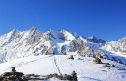 Hohsaas山, 3,142 m 阿尔卑斯,瑞士 免版税图库摄影