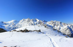 Hohsaas berg, 3.142 M Fjällängarna, Schweiz Royaltyfri Bild