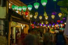 Hoi μια αρχαία πόλη κατά τη διάρκεια της νύχτας με το φανάρι ελαφρύ Βιετνάμ στοκ εικόνες