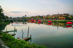 Hoi An Ancient-stad, Vietnam op één ochtend stock foto's