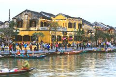 Hoi An ancient town at dusk royalty free stock images