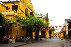 Hoi An Ancient Town im Sonnenschein des frühen Morgens, Quang Nam, Vietnam Stockbild