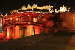 Hoi An Ancient Town Japanese Bridge At Night, Vietnam UNESCO World Heritage. Constructed by the Japanese trading community in 1593 to connect them with the royalty free stock photos