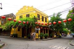 Hoi An Ancient Town na luz do sol do amanhecer, Quang Nam, Vietname Foto de Stock