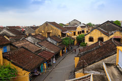 Hoi An Ancient Town view from top, there are many tourists on main street of the ancient town. Stock Photography