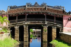 Ancient Hoi An city in Vietnam. Hoi An city - highlight of any trip to Vietnam. Japanese covered brigde - UNESCO site. Vietnam royalty free stock photography