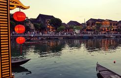 Hoi An at dusk. A view of the river passing through Hoi An in Vietnam at dusk Royalty Free Stock Images