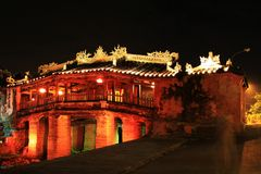 Hoi An Japanese Bridge At Night, Vietnam UNESCO World Heritage. Constructed by the Japanese trading community in 1593 to connect them with the Chinese area on Royalty Free Stock Image