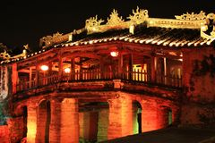 Hoi An Japanese Bridge At Night, Vietnam UNESCO World Heritage. Constructed by the Japanese trading community in 1593 to connect them with the Chinese area on Stock Photography