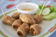 Hoi Jo、泰国食物或者泰国快餐用甜调味汁 免版税库存照片