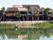 Hoi An Old Town Houses e rio em Vietname fotos de stock royalty free
