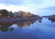 Hoi An Old Town Houses e rio em Vietname imagens de stock royalty free
