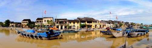 Hoi An Panorama. View of Hoi An old town and river, Vietnam Stock Photos