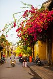 HOI AN, QUANG NAM, VIETNAM, April 26th, 2018: Beautiful early morning at street in Hoi an ancient town. HOI AN, QUANG NAM, VIETNAM, April 26th, 2018: Beautiful royalty free stock photo