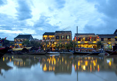 Hoi An riverside at dusk royalty free stock photography