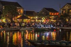 Hoi An-rivieroever bij nacht Stock Afbeeldingen