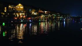 Hoi An stad på natten arkivfilmer