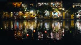 Hoi An stad på natten stock video