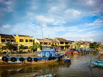 Hoi An Street Scene River Vietnam South East Asia. Very much one of the main tourist attractions and points of interest in the area Stock Photo