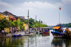 Hoi An Street Scene River Vietnam South East Asia. Very much one of the main tourist attractions and points of interest in the area Stock Image