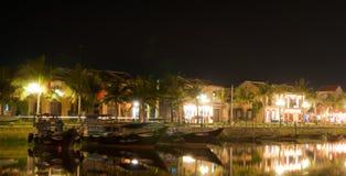 Hoi an town at night,vietnam. Hoi an town at night, Hoi an river, Vietnam stock image