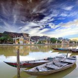 Hoi An. Vietnam. View on the old town of Hoi An from the river. Boats in the foreground. Vietnam royalty free stock photo