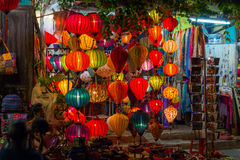 HOI AN, VIETNAM - CIRCA AUGUST 2015: Paper lanterns on the streets of old Asian  town Royalty Free Stock Photo