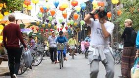 Hoi An Vietnam-December 28,2016: Hoi An är en stad av lyktor och ett frilufts- museum Den gamla staden är arvet av lager videofilmer