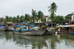 HOI AN, VIETNAM - January  7, 2015: Traditional boats in Hoi An. Stock Photography