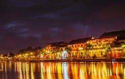 HOI, VIETNAM - MAART 17, 2017: de traditionele gele bouw in Hoi An-stad Hoi An is de plaats van de werelderfenis en populaire toe Stock Foto