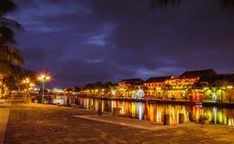 HOI, VIETNAM - MAART 17, 2017: de traditionele gele bouw in Hoi An-stad Hoi An is de plaats van de werelderfenis en populaire toe Stock Fotografie