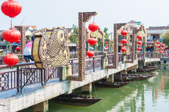 Hoi An - Vietnam Mar 16 ::  The Thu Bồn River at Hoi An ancien Royalty Free Stock Photography