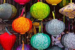 HOI AN, VIETNAM - MARCH 19, 2017: Colored vietnamese silk lanterns. Royalty Free Stock Photography