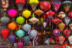 HOI AN, VIETNAM - MARCH 19, 2017: Colored vietnamese silk lanterns Royalty Free Stock Image