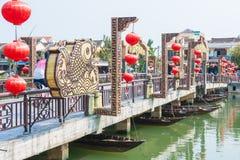 "Hoi An - Vietnam Mars 16:: Thu Bá"" ""n-floden på Hoi An ancien Royaltyfri Fotografi"