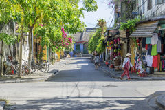 Hoi An, Vietnam. Morning, Street in Hoi An old town, Vietnam. Hoi An is a famous tourist destination in the world and Vietnam. Photo taken on: 27 July, 2015 royalty free stock photo